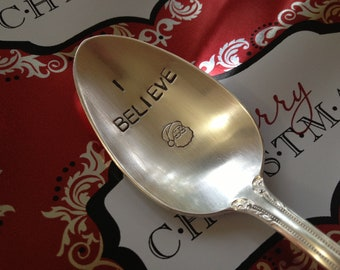 Recycled Silverware Christmas Spoon Hand Stamped   I Believe