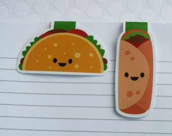 Taco and Burrito Magnetic Bookmarks, Set of 2 Cute Taco Food Paper Clips for Planners or Cookbooks, Kawaii Page Markers for Book Lovers