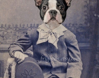 Dog in Suit Art, Boston Terrier, 8 x 10 Inch Print, Anthropomorphic Animal Wall Decor, Animal in Clothes Portrait, Dog Wall Decor