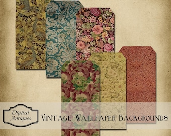 Vintage Wallpaper Backgrounds Tags and ATC Printable Digital Download