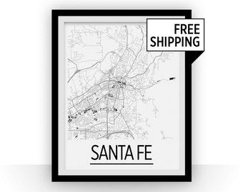Santa Fe Map Poster - usa Map Print - Art Deco Series