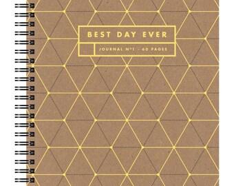 Letterpress Gold Foil Notebook, Triangles