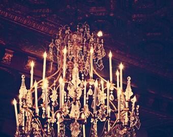 Fine Art Photograph, Chandelier Photo, St Regis Hotel, Luxury, Golden, Glowing, Romantic Art, Pretty, Bedroom Art, Home Decor, Wall Art