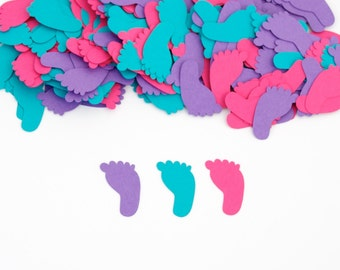 Baby Shower - Baby Shower Confetti -  Footprint Confetti - Girl Baby Shower Decorations - Baby Shower Idea - Hot Pink, Turquoise & Purple