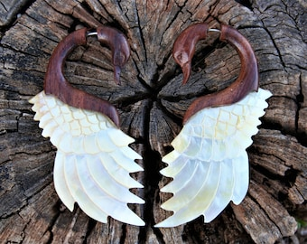 Swan Tribal Wood and Mother of Pearl Shell Fake Gauge Earring Handcarved