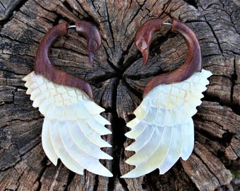 Swan Tribal Wood and Mother of Pearl Shell Fake Gauge Earrings Handcarved