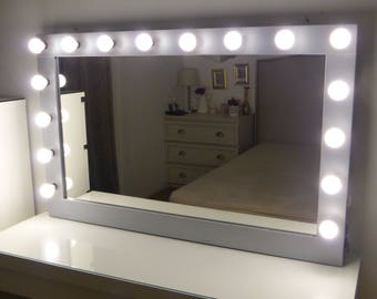 Hollywood lighted vanity mirror large makeup mirror with xl hollywood vanity mirror 43 x 27 makeup mirror with lights mozeypictures Gallery