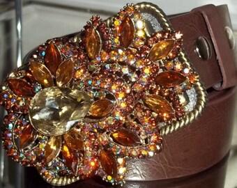 Womens Topaz Crystal Vintage Style Belt Buckle