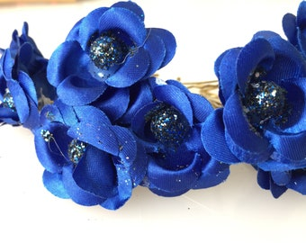 Bridal Hair Accessories, Dark  Blue Rose, Dark Blue flower Hair Bobby Pin-set 10