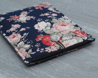 Floral Kindle Case, iPad Mini Cover, Kindle Touch Padded Sleeve, Kindle Fire Cover, Kindle 6, Blue Kindle Paperwhite Cover, Buttoned Cover