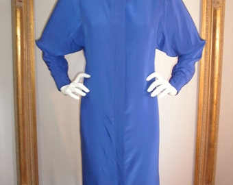 Vintage 1980's Nora Martin Royal Blue Dress with Batwing Sleeves - Size 12