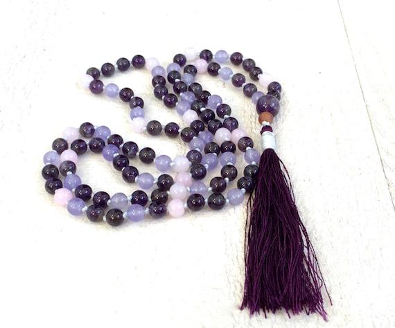 Lift The Spirit Mala, Amethyst Mala Beads, Purple Mala Necklace, Mala Beads 108, Yoga Meditation Mala, Mala Beads Necklace, Tassel Mala