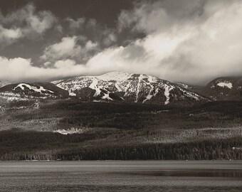 Big Mountain Whitefish Montana Vintage SEPIA Toned Fine art Photo, Rustic Decor, ski lodge, ski mountain, montana art