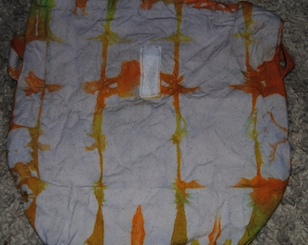 Tie Dyed Lunch Sack in Orange and Yellow in Checkerboard Pattern