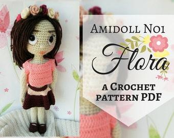 Amidoll No1 - Flora, Crochet Pattern PDF in English, Amigurumi Girl Doll, Crochet Stuffed Toy