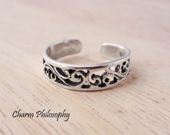 Filigree Toe Ring - 925 Sterling Silver Jewelry - Abstract Design
