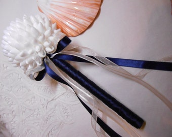 Beach Wedding Flower Girl Bouquet - Seashell Ball Bouquet Wand Shell Bouquet