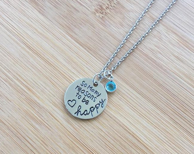 So Many Reasons to be Happy Stamped Necklace  Heart adjustable chain Inspirational round disc charm