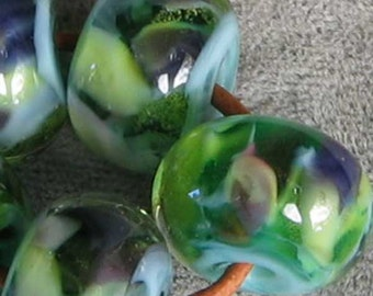 River Reflections Lampwork Spacer Handmade Glass Beads Encased Green Blue Purple Choose 2 4 5 or 6 bead set