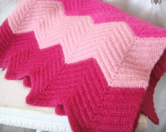 Vintage Afghan Blanket in Bright Pink Chevron Stripes, Warm Heavy Wool, Cozy Linens