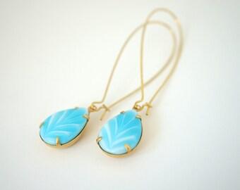 Long Turquoise Glass Dangle Earrings, Vintage Turquoise Dangle Earrings, Long Brass Earrings, Turquoise Earrings, Turquoise Drop Earrings