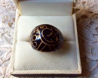 Vintage ART DECO ENAMEL Bird wide Ring - Vintage Design - Yelow metal - Hand-crafted Artist Fantastic Decor - Vintage jewelry - from France