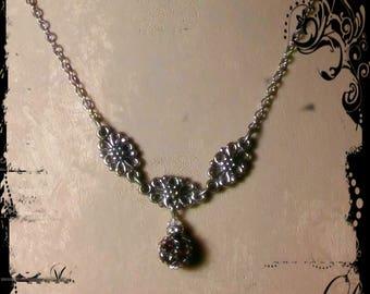 Vintage Antique Silvertone Necklace with Vintage Swarovski Drop Crystal