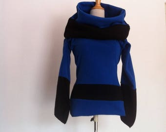 "Sweater fleece dress ""All inside out"" Royal Blue / dark blue fleece sweater dress"