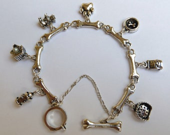 Sterling Silver Dog Charm Bracelet