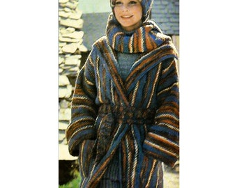 70s Cozy Wrap Coat Pattern Scarf Pattern Knitting PDF C101