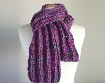 Hand knit purple pink scarf, chunky pink scarf, warm winter scarf, gifts for her