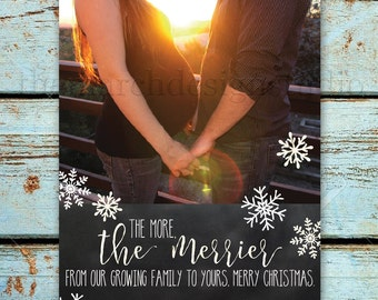 Printable or Printed Christmas Pregnancy Announcement - Holiday Photo Card - Baby - Pregnancy Accouncement  - Snowflakes - Chalkboard