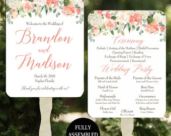 Wedding Program Fans Printable or Printed/Assembled with FREE Shipping - Peaches and Cream Collection