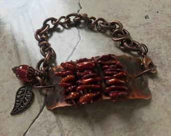 Hammered Copper/Red Stick Pearl Bracelet