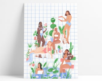 Poolside -  A limited edition Giclée print featuring glamorous women sitting around a pool.