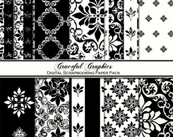 Scrapbook Paper Pack Digital Scrapbooking Background Papers DAMASK Pack10 8.5 x 11 So FRENCH Black White Fleur 1213gg