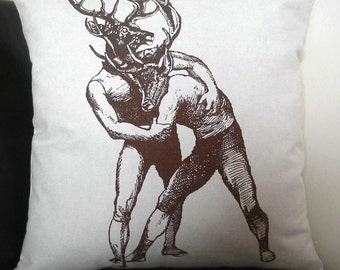 Young Bucks Brawling silkscreened cotton canvas throw pillow 18x18 inches
