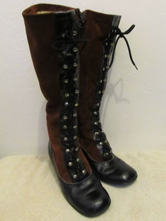 amp; Tone 2 Black 60's 7 SEXY Vintage Tall era Hipster Women's GO Boots Brown GO IS0RXx