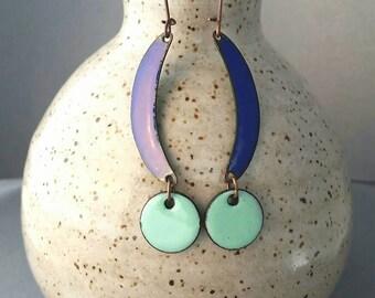 Dangle & Drop Earrings, Blue enamel chandelier earrings, Copper Eanamel Earrings, Nickel Free Earrings, Lightweight Earrings