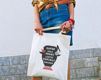 Supercalifragilisticexpialidocious quote tote bag-Mary Poppins tote-women bag-custom tote-quote tote bag-shopping bag-NATURA PICTA NPTB016