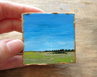 Miniature Prairie Landscape Painting, original tiny acrylic art with western US desert ranch scene, collectible, 2x2 inches
