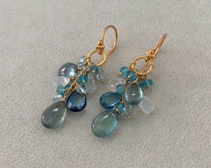 Moss Aquamarine Gemstone Cluster Earrings in Gold and Rainbow Moonstone, Mystic London Blue Topaz, Sky Blue Topaz and Apatite