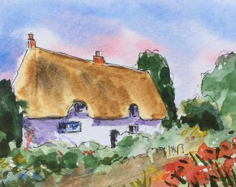Landscape ORIGINAL Miniature Watercolour Thatched Cottage ACEO Watercolor For him, For her, Home decor, Wall art, Gift Idea