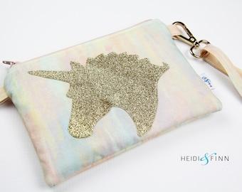 NEW UNICORN child purse wallet wristlet modern clutch sparkle gold kids watercolor watercolour