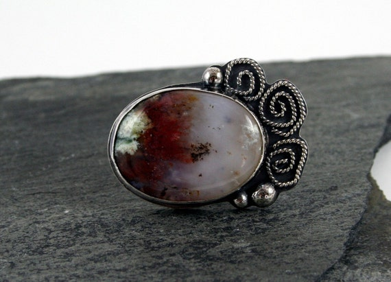 Sterling Silver Cocktail Ring, Plume Agate Stone with Roses Size 9