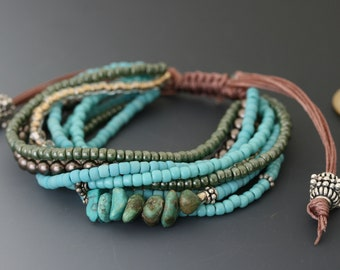 Multi-strand bracelet with macrame sliding knot. One size fits most. Turquoise and sterling jewelry.