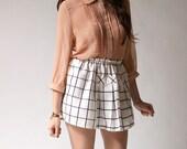 Prep School Grid Pull-On Pleated Waist Skirt (xs - s)