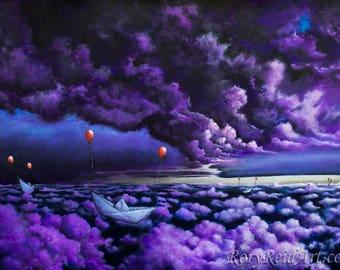 "Fine Art Print of Original Painting ""Exceeded Expectations."" Surrealism Landscape Sky Cloud Wall Art Decor RoryReidArt"