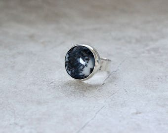 Snow Scene Agate Ring, Ring Size 8 US, Sterling Silver Ring, Statement Ring
