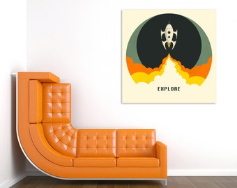EXPLORE Ready to Hang Wood Print (Pop Art for your Home Décor)